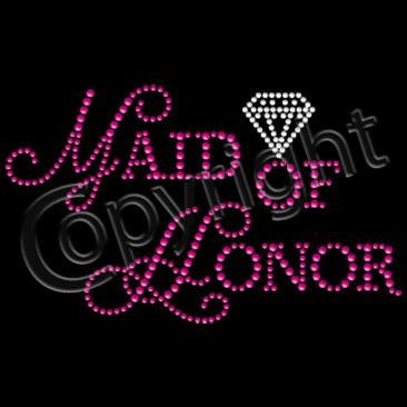 Maid of Honor in Pink Rhinestuds with Diamond