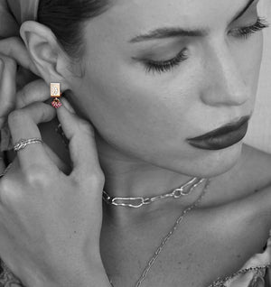 """To the Moon"" Pave Ruby Earrings"