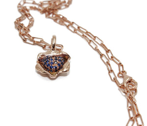 Self Love Pave Blue Sapphire Cluster Pendant Necklace