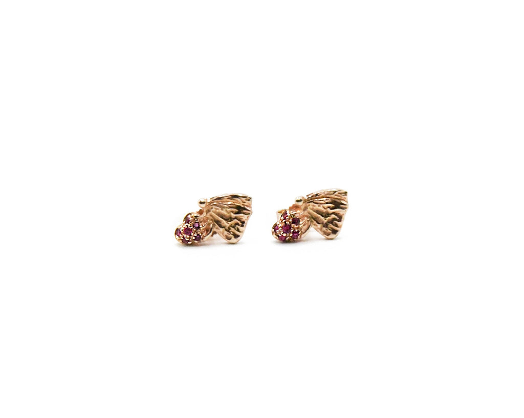Love Bug Earrings with Pave Rubies
