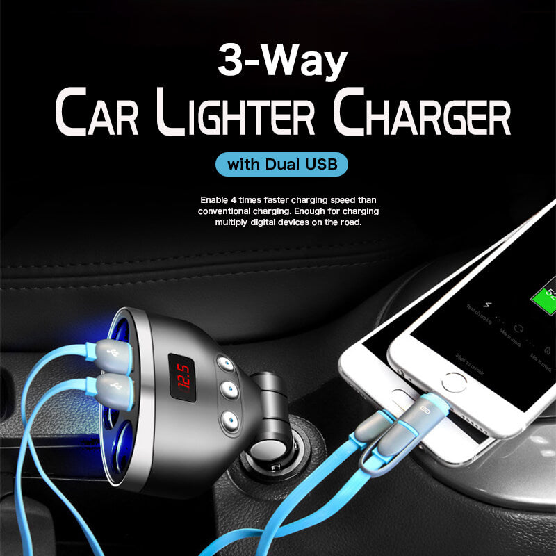 3-Way Car Lighter Charger with Dual USB