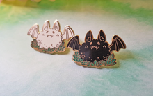 Load image into Gallery viewer, Fly By Night - Fluffy Bat Charity Pin - Jelly Kat Studio