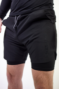 2 in 1 Stitched Training Shorts Black