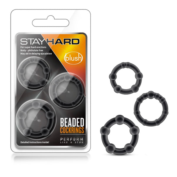 Stayhard Beaded Cockrings - Black