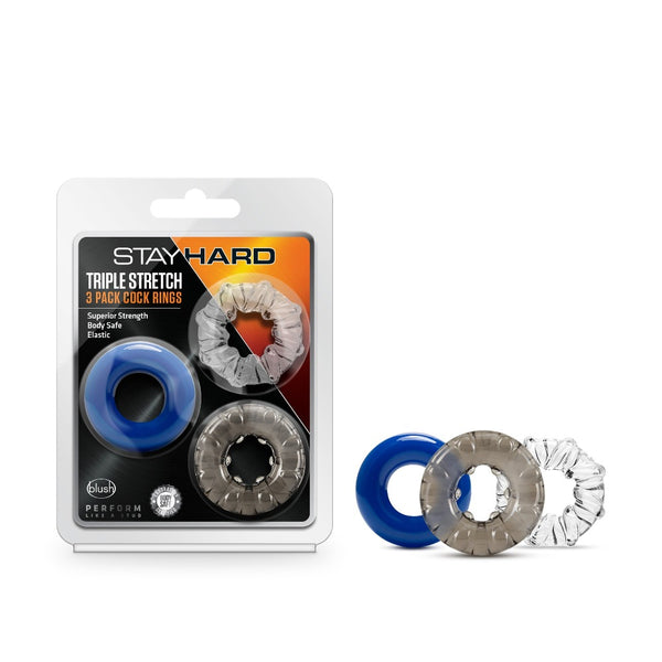 Stay Hard Triple Stretch 3 Pack CockRing