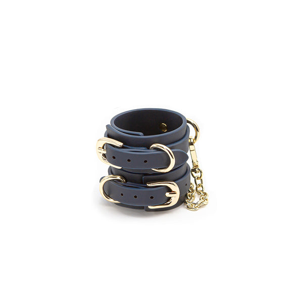Bondage Couture Wrist Cuffs - Navy Blue