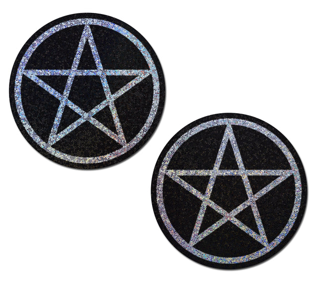 Pentagram Glitter Pasties - White/Blk
