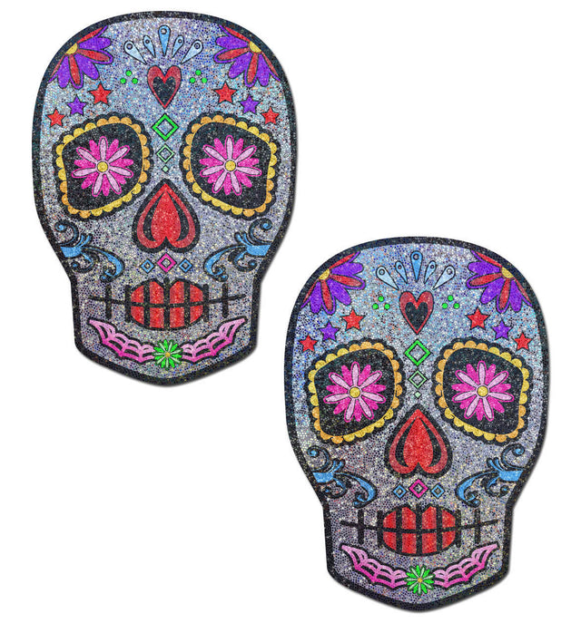 Multi-Colour Sugar Skull Face Pasties