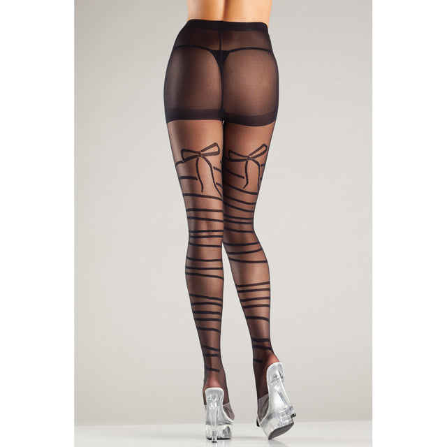 Mock wraparound sheer tights