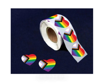 Progress Pride Heart Stickers 500pc roll