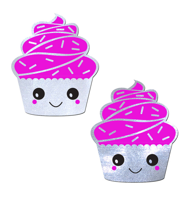 Happy Kawaii Cupcake Pasties - Pnk/White