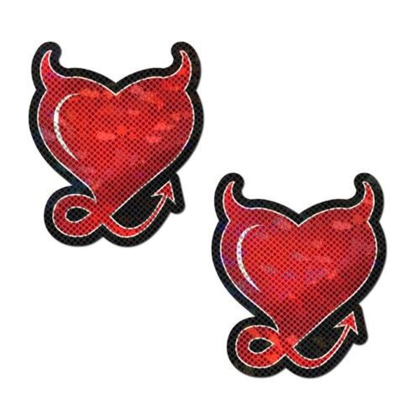 Red Glitter Hearts w Horns & Tail Pastie