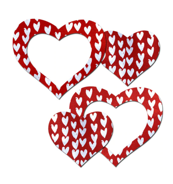 Peek-a-Boob: Red/White Hearts w Cut-Out