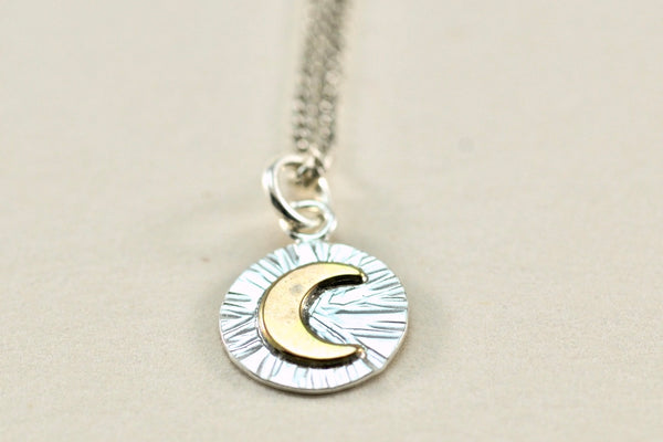 Silver and Gold moon charm