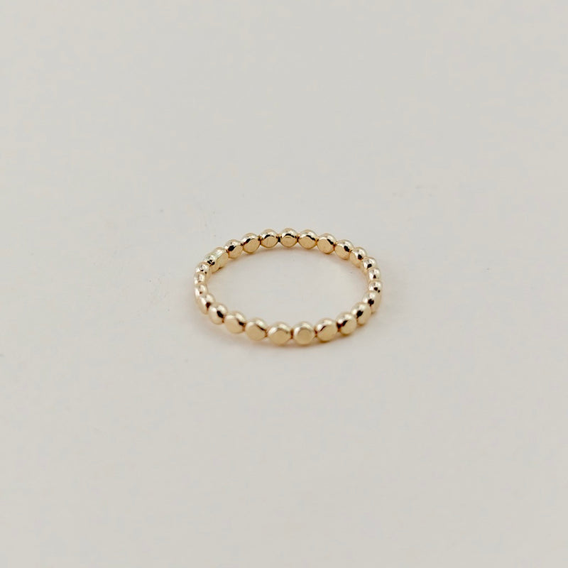 gold flat ball textured stacking ring