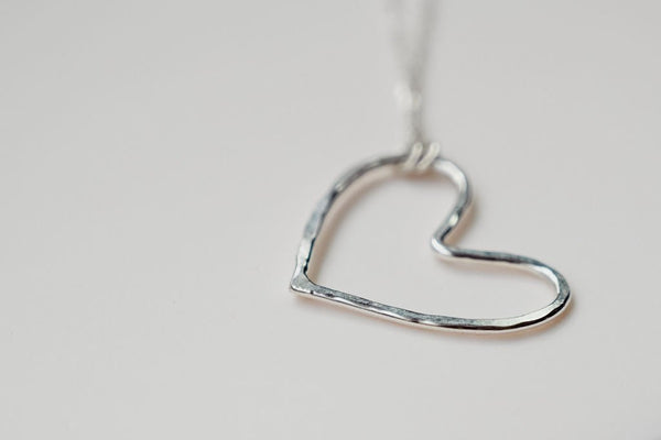 heart necklace textured silver pendant