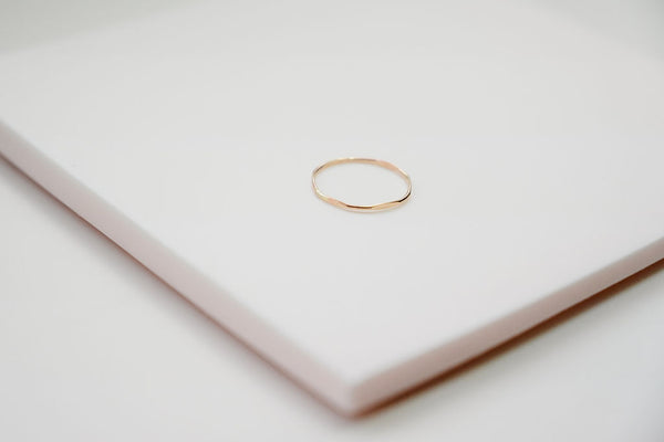 The hex simple gold stacking ring