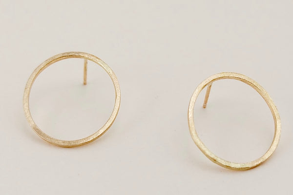 Our pair of gold black moon earrings, an Open circle shape