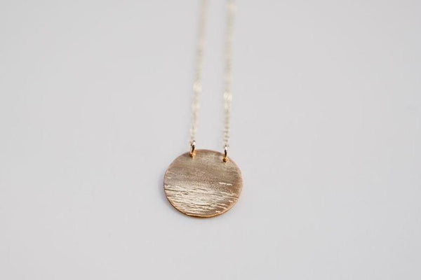Our Gold moon over water necklace pendant