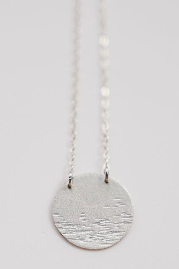 Moon Over Water Silver Necklace