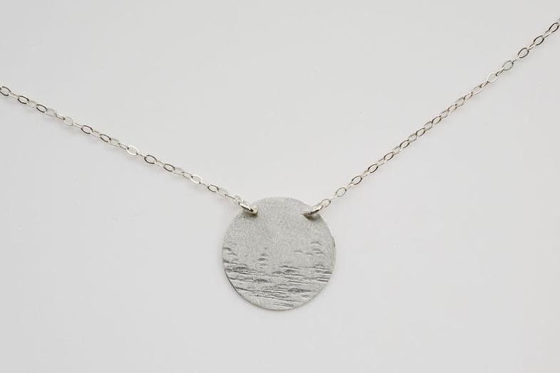 moon textured nature silver necklace