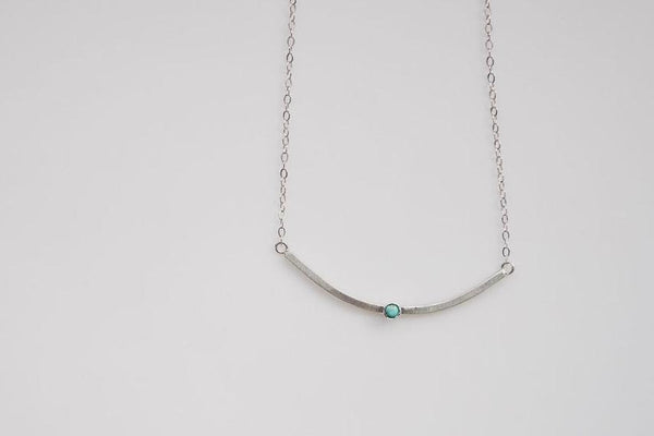 textured silver and turquoise stone matte necklace