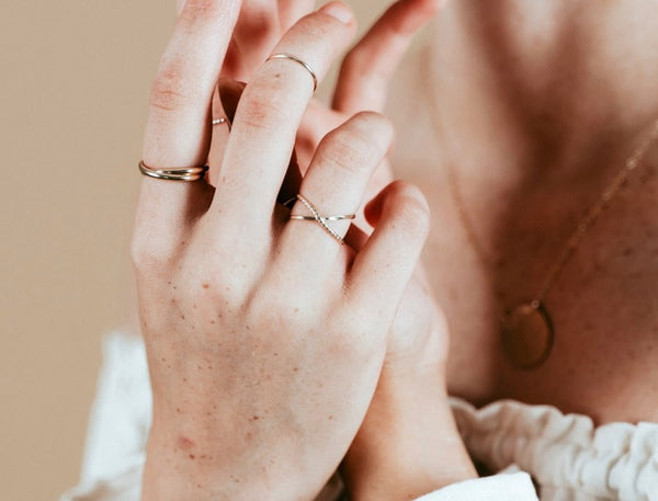 Our model wearing the gold orbit ring and meditation ring