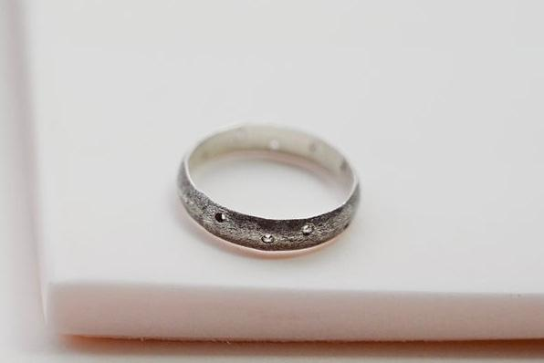 silver matte wide band ring with holes