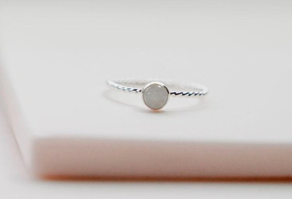 Silver gemstone stacking ring large gemstone