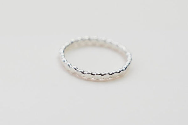 Flat ball silver stacking ring