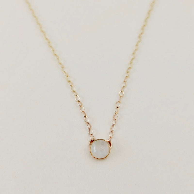 Birthstone Gemstone Solitaire Gold Necklace