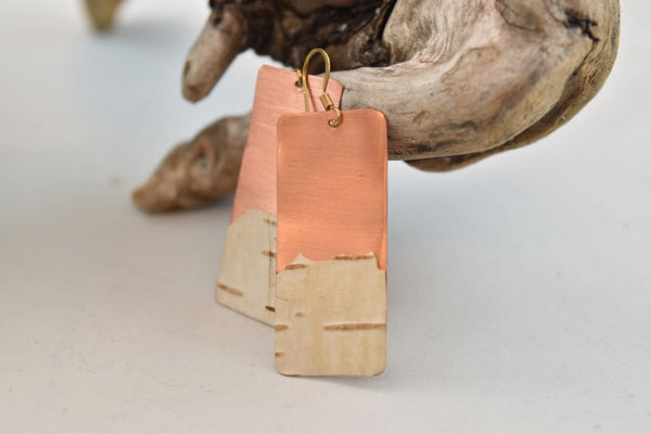Birch Bark Wide Copper Earrings