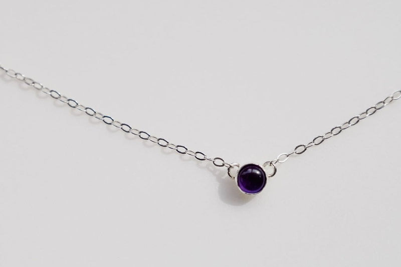 Birthstone Gemstone Solitaire Silver Necklace