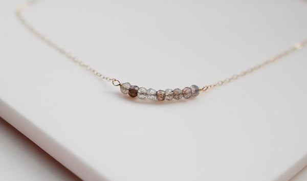 The gold strand gem necklace with labradorite