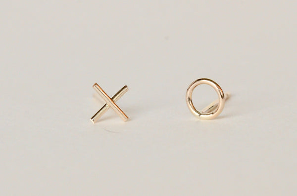 'xo' mini stud hugs and kisses gold earrings