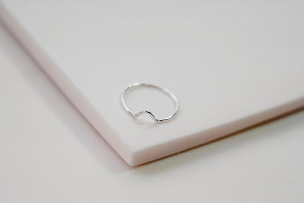 mini mountain ring triangle silver stacking ring