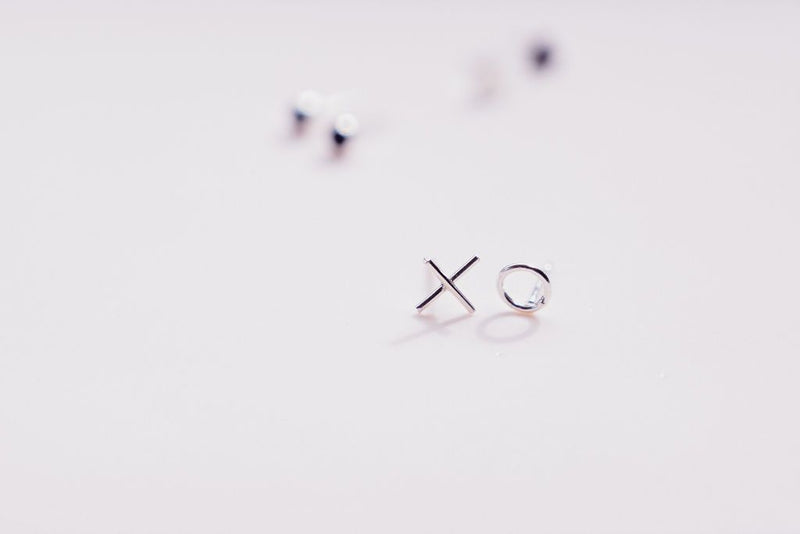 'xo' mini stud hugs and kisses sterling silver earrings