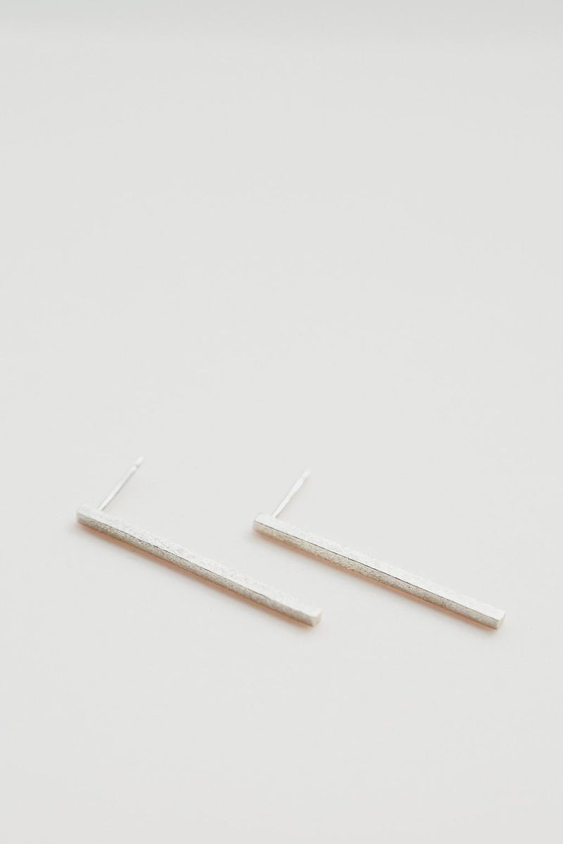 Long stick silver square earring