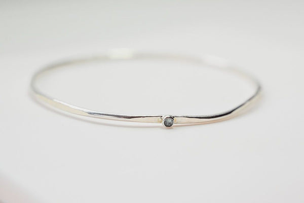 Silver Hex Bangle with Gemstone