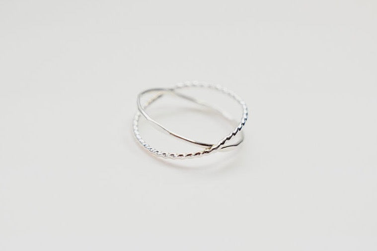 orbit criss cross x silver ring two textures