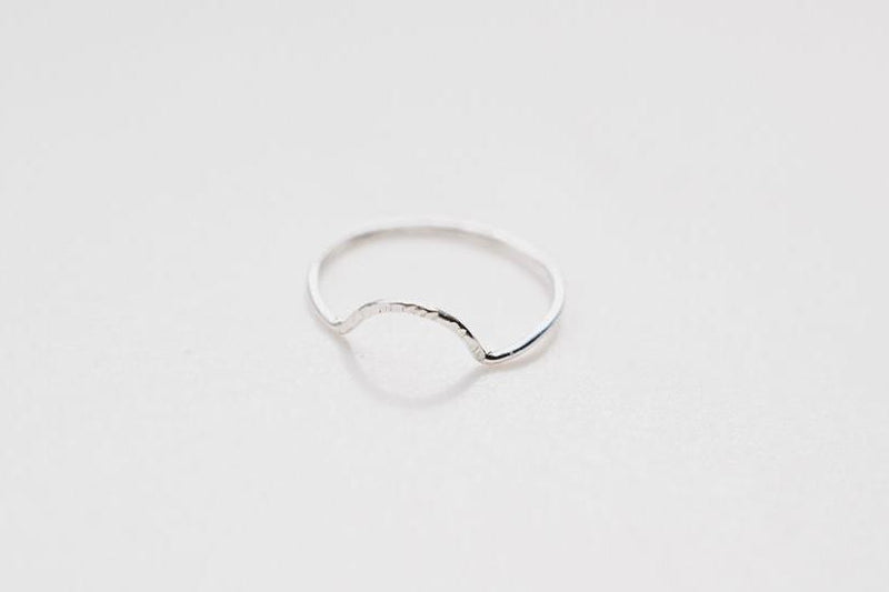 textured half circle silver stacking ring