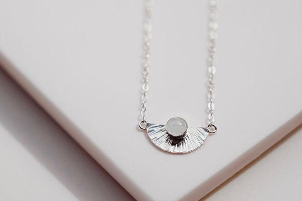 textured silver 5mm gemstone silver neckalce