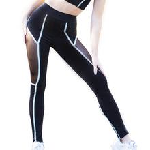 Load image into Gallery viewer, Black Hyperspace Mesh Workout Leggings