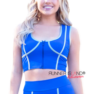 Neptune Blue Mesh Workout Leggings