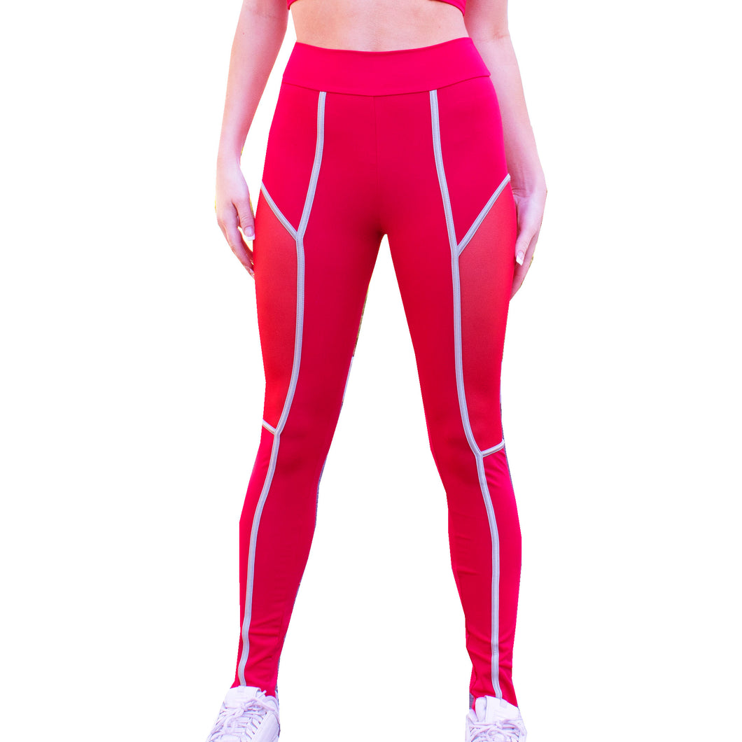 Mars Red Mesh Workout Leggings