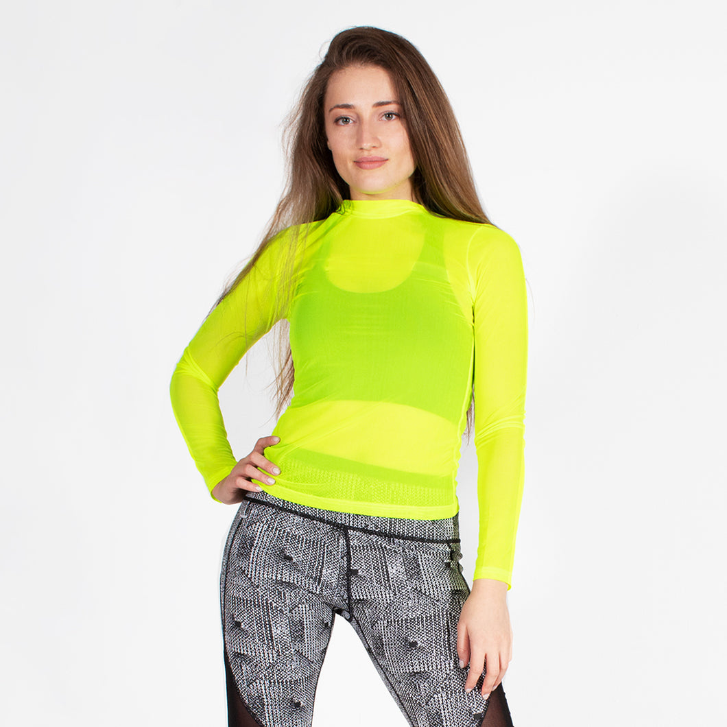 Neon Yellow Sporty Mesh Long Sleeve