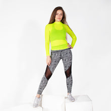 Load image into Gallery viewer, Neon Yellow Sporty Mesh Long Sleeve