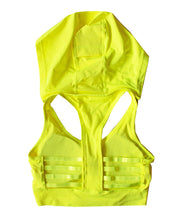 Load image into Gallery viewer, Neon Yellow Sports Bra Hoodie