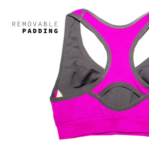 Fuchsia Cut Out Racerback Large Bust Sports Bra
