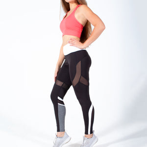 Black White Speedway Club Mesh Leggings